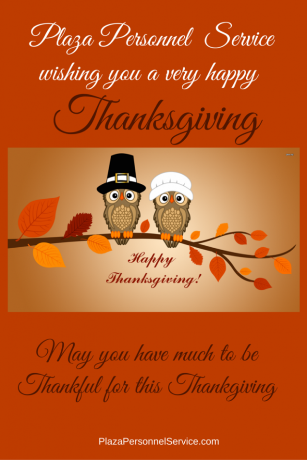 Plaza Personnel Service Medical Staffing Agency San Diego Thanksgiving message 2015