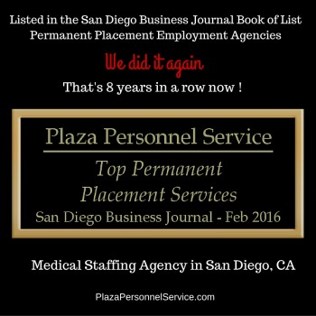 Plaza Personnel Service a top permanent placement employment agency for medical jobs in San Diego