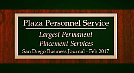 Plaza Personnel Service, A permanent placement Employment Agency in San Diego